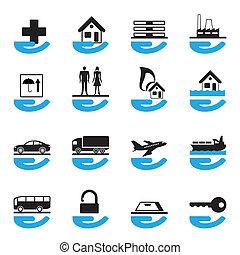divers, ensemble, assurance, icônes