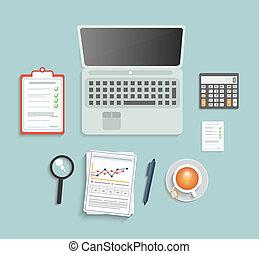 divers, ensemble, financier, service, articles