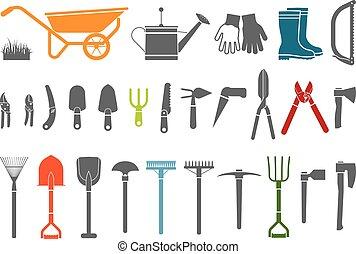 divers, ensemble, jardinage, items.
