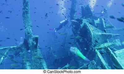 Divers exploring Zenobia shipwreck