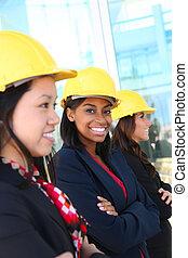 divers, femme, équipe, construction
