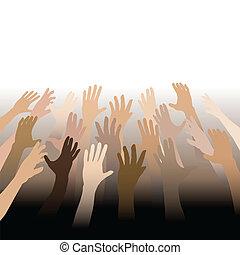 divers, gens, mains, portée, haut, dehors, à, espace copy