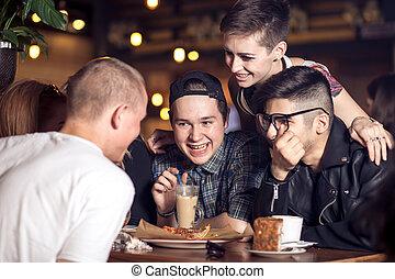 divers, gens, pendouiller, pub, amitié