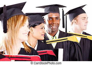 divers, groupe, remise de diplomes, diplômés