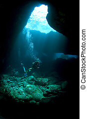 Divers in a Lava Tube