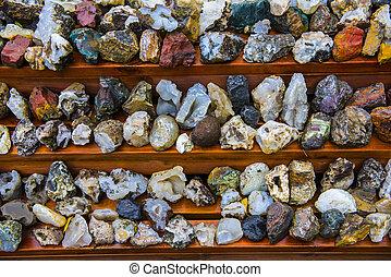 divers, islandais, rochers, et, minéraux