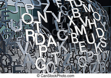 divers, métal, lettres