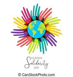 divers, mains humaines, mondiale, jour, solidarité