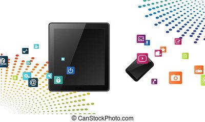 divers, mobile, résumé, appareils, fond, applications