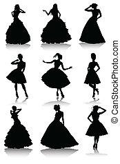 divers, modèle, ensemble, filles, robe, beau