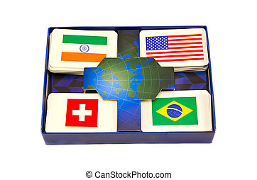 divers, mondiale, pays, drapeaux, cartes, boîte, isolé
