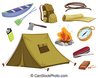 divers, objets, de, camping