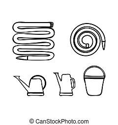 divers, outils jardinage, ensemble, irrigation