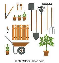 divers, outils jardinage, mettez stylique, plat