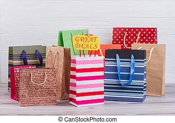divers, papier, achats, bags.