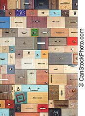 divers, peu, coloré, tiroirs, -, intérieur, detail.