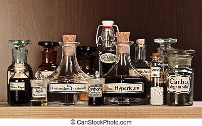 divers, pharmacie, bouteilles, de, médicament homéopathique