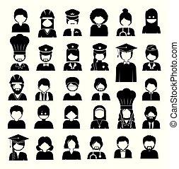 divers, professions, vecteur, métiers, illustration