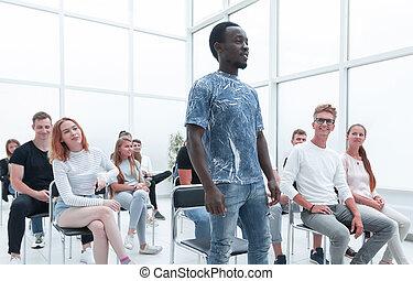 divers, salle, jeunes, groupe, séance, conférence