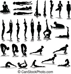 divers, silhouettes, yoga