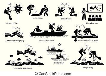 divers., subacqueo, professionale, lavori, tuffo