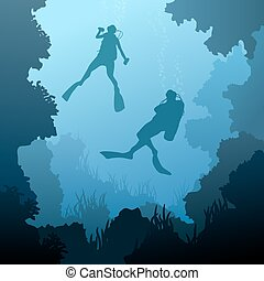 Divers under water. - Square illustration of scuba divers...