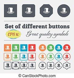 divers, vecteur, coloré, chapeau, buttons., icône, grand, cylindre, ensemble, signe, high-quality