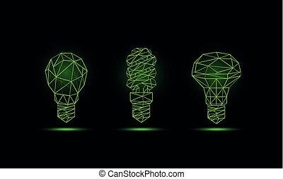 Lumière, luminescent, vert, ampoule  Lumière, illustration
