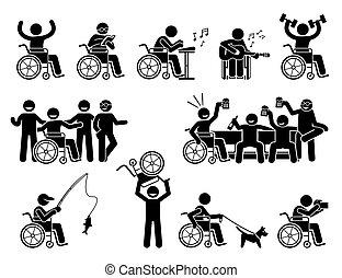 divers, vie, icons., heureux, crosse, passe-temps, mener, activités, normal, handicapé, figures, homme