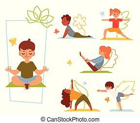 divers, yoga, étirage, exercices, ou, gosses, fitness, poses, enfants, ensemble, mat.