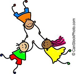 united kids - diverse and happy united kids holding hands - ...