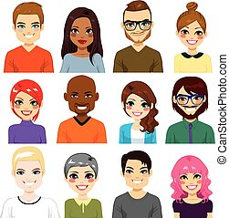 Diverse Avatar Collection - Collection of twelve different...