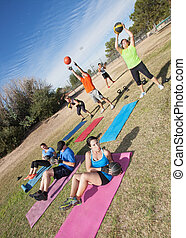 Diverse Boot Camp Fitness Class