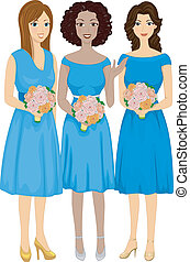 Diverse Bridesmaids - Illustration Featuring Bridesmaids of...