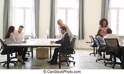 Diverse business people staff group working in modern office interior