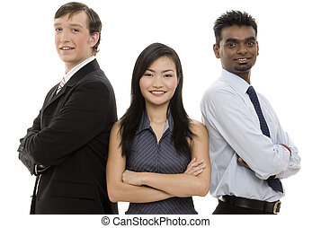 Diverse Business Team 5 - A diverse threesome form a happy...