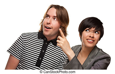 Diverse Caucasian Male and Multiethnic Female Pointing Up
