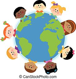 A happy multicultural group of children around the planet Earth. Vector Illustration