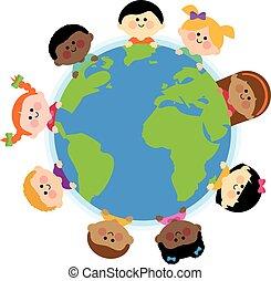 Diverse children around the Earth globe. Vector Illustration...