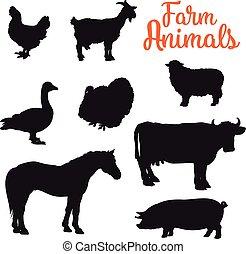 diverse collection of farm animals, black contour