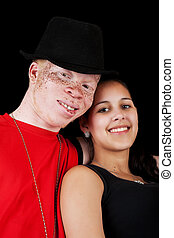Diverse Couple - A young African albino man with a mixed-...