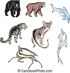 diverse, däggdjur, djuren