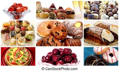 desserts collage including donuts, fruit tart, pastries, bicuits, fruits and sicilian cannoli