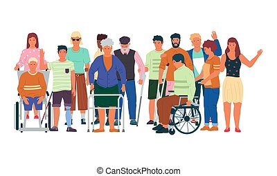 Diverse disabled people. Handicapped men and women with physical injuries, limited mobility. Treatment and rehabilitation, support human disabilities. Vector health care illustration