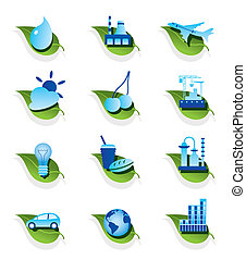 Diverse ecological icons set
