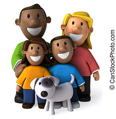 Diverse family - 3D Illustration