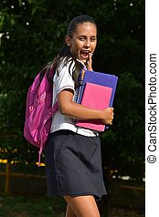 Diverse Female Student And Happiness Wearing Uniform