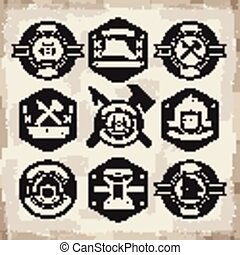 diverse fire department emblems set