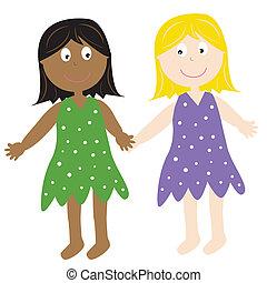 Diverse Friends - Two diverse friends holding hands