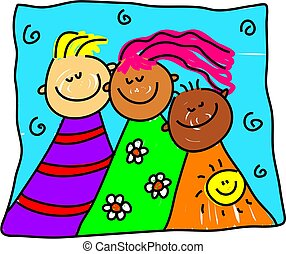group of diverse and colourful children from different cultures - toddler art series